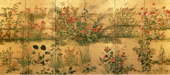 四季草花図屏風
