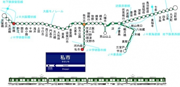 京阪電車 私市駅 アクセス路線図