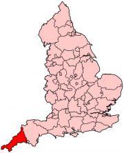 イングランドにおけるコーンウォールの位置