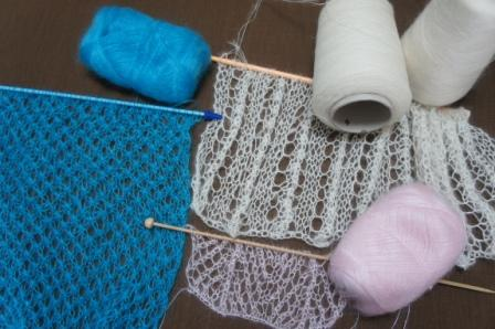 シルクモヘア試し編み
