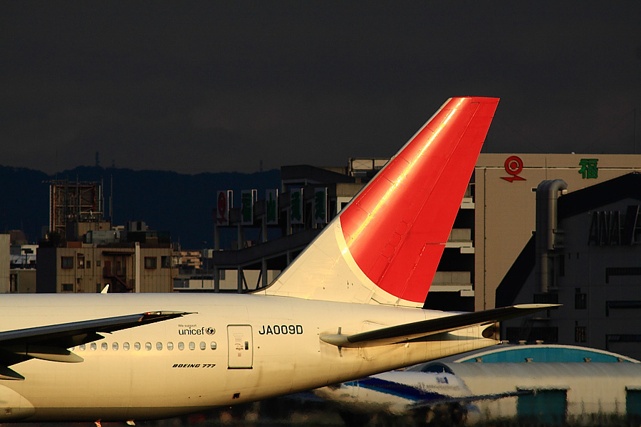 JAL B777-289 JAL127@RWY14Rエンド猪名川土手(by EOS 50D with SIGMA APO 300mm F2.8 EX DG/HSM + APO TC2x EX DG)