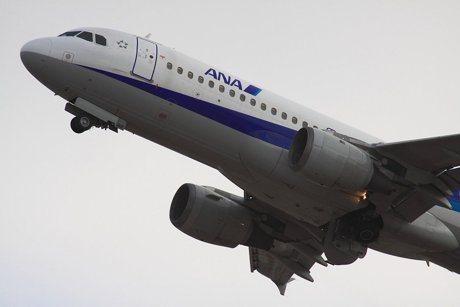 ANA A320-211 ANA543@RWY14Rエンド猪名川土手(by EOS 50D with SIGMA APO 300mm F2.8 EX DG HSM + APO TC2x EX DG)