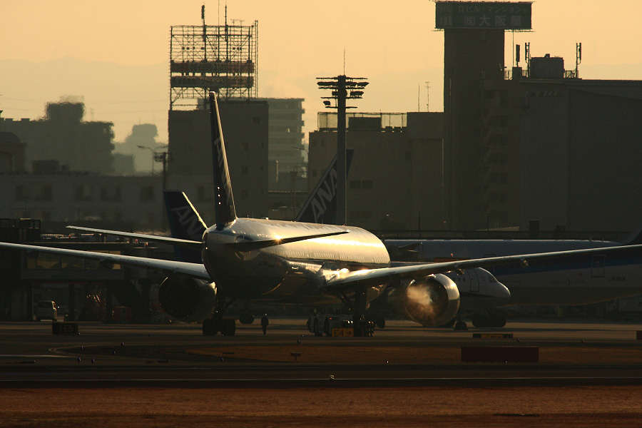 ANA B777-381ER ANA2176@RWY14Rエンド猪名川土手(by EOS 40D with SIGMA APO 300mm F2.8 EX DG HSM + APO TC2x EX DG)