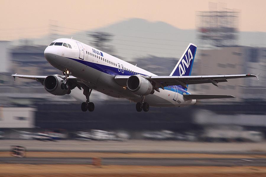 ANA A320-211 ANA555@RWY14Rエンド猪名川土手(by EOS 50D with SIGMA APO 300mm F2.8 EX DG HSM + APO TC2x EX DG)