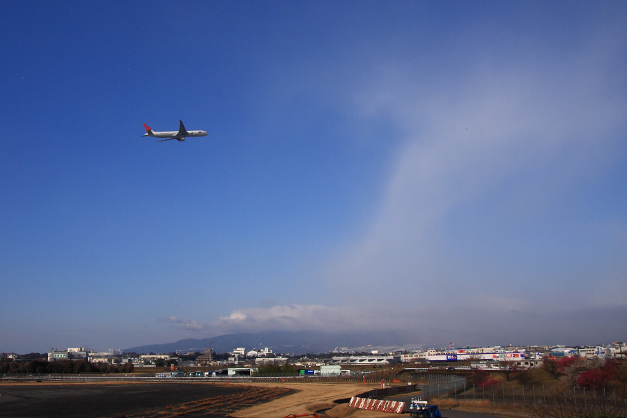 JAL B777-346ER JAL3002@下河原緑地展望デッキ(by EOS 40D with SIGMA 18-50mm F2.8 EX DC MACRO)