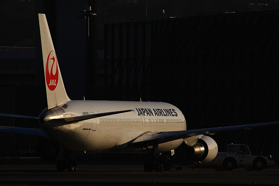 JAL B767-346ER JA656J@RWY14Rエンド猪名川土手(by EOS 50D with SIGMA APO 300mm F2.8 EX DG HSM + APO TC2x EX DG)