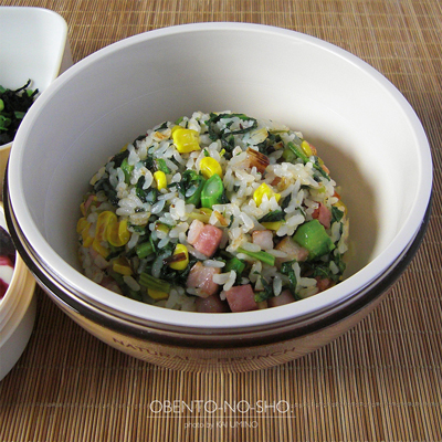 ベーコンと菜花の炒飯弁当02