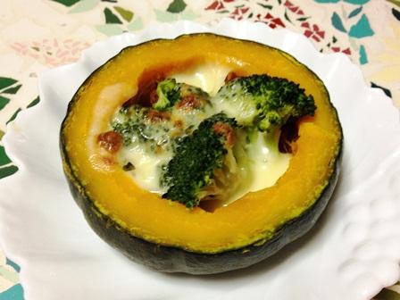 かぼちゃとブロッコリのチーズ焼き