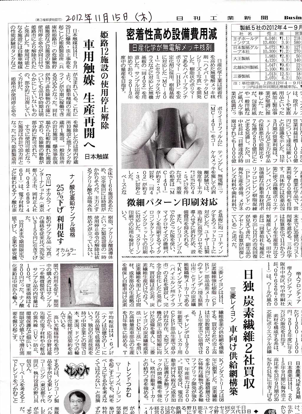 日刊工業新聞記事121115