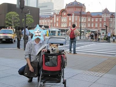 東京駅バックに