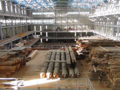 工事中の三仏堂仮設建屋内部