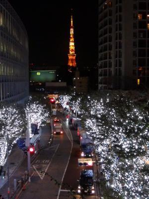 けやき坂から東京タワーを望む