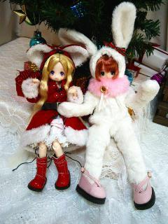 クリスマスな動物ドレスのお二人