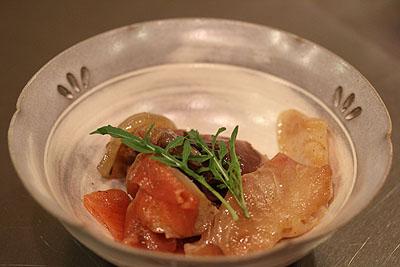 お刺身のマリネー醤油おろし玉ねぎドレッシング黒胡椒