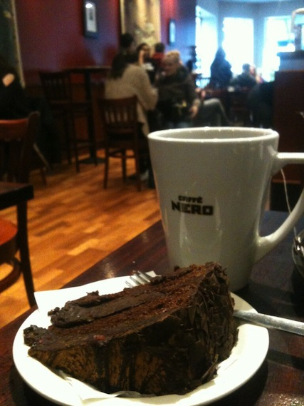 Chocolate cake with Earl Grey at Cafe Nero