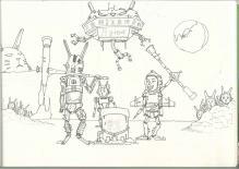月面餅つき戦争 下描きⅡ
