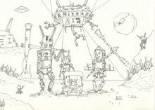 月面餅つき戦争 下描きⅢ
