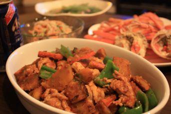 カボチャと豚肉の味噌カレー炒めの献立