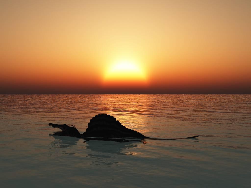 泳ぐスピノサウルス