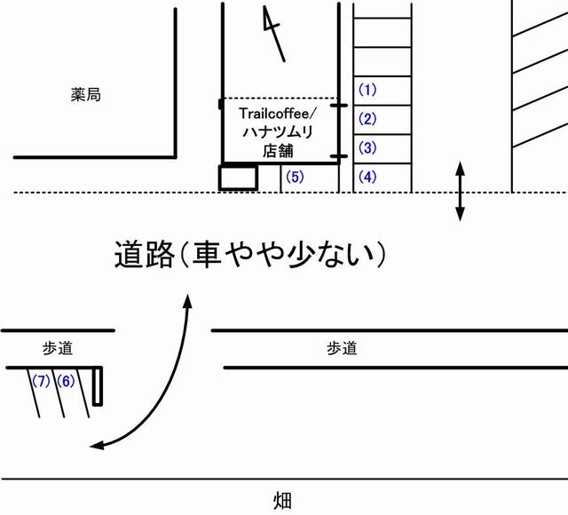 trailcoffeeハナツムリ駐車場見取り図01