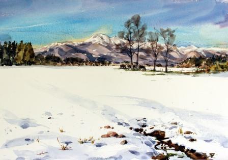 牧場の雪景色