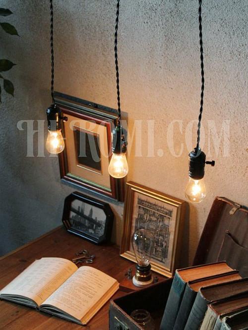 ヴィンテージアルミ製ターン式ソケットペンダントランプA/ Blackアンティーク工業系照明ライト/店舗設計・スチームパンク・施工・設計・計画・建築