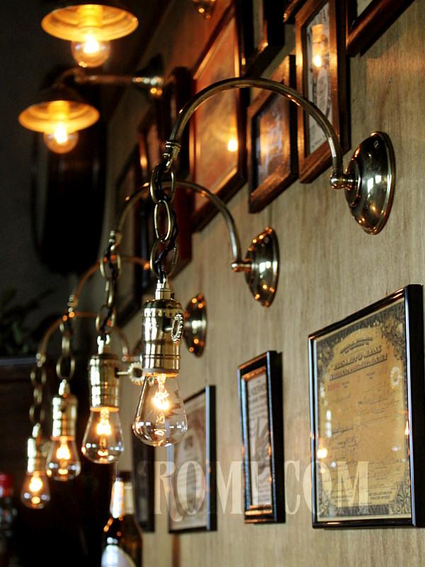 USAヴィンテージ真鍮製鍵付きソケット&チェーン付き工業系ブラケットA/インダストリアル照明ライト