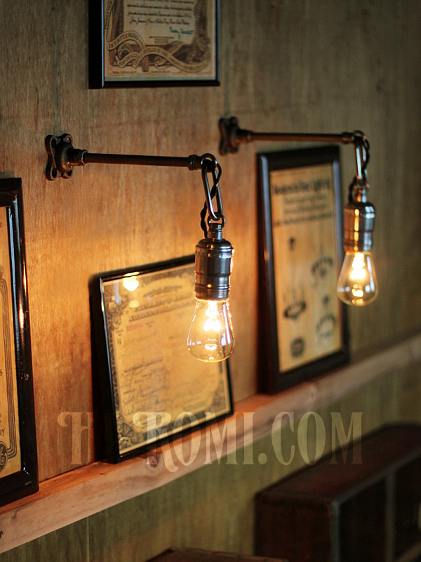 USAヴィンテージチェーンリング付工業系ウォールランプ兼用ペンダントライトA/アンティーク照明ブラケット/修理製作・店舗設計・照明計画・建築・施工