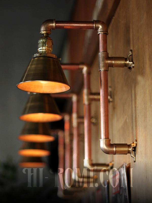 USAヴィンテージシェード付2点固定式真鍮&銅製工業系ブラケットC/インダストリアルトラブルライト/スチームパンク壁掛照明ウォールランプ