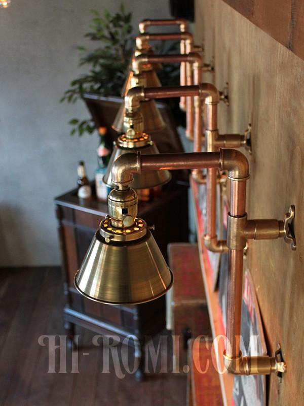 USAヴィンテージシェード付2点固定式真鍮&銅製工業系ブラケットE/インダストリアルトラブルライト/スチームパンク壁掛照明ウォールランプ