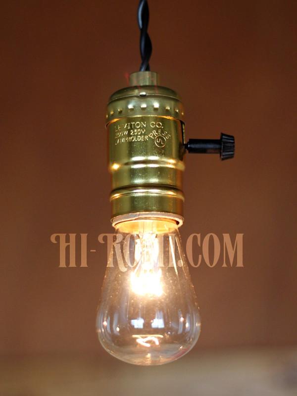 LEVITON社製ターン式アルミ製GoldソケットペンダントライトK/工業系ランプ照明/店舗設計/リノベーション/施工建築/照明計画