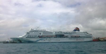 小浜島:帰りの船内からアクエリアス号