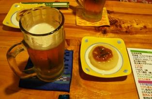 梅里:ビール、お通し