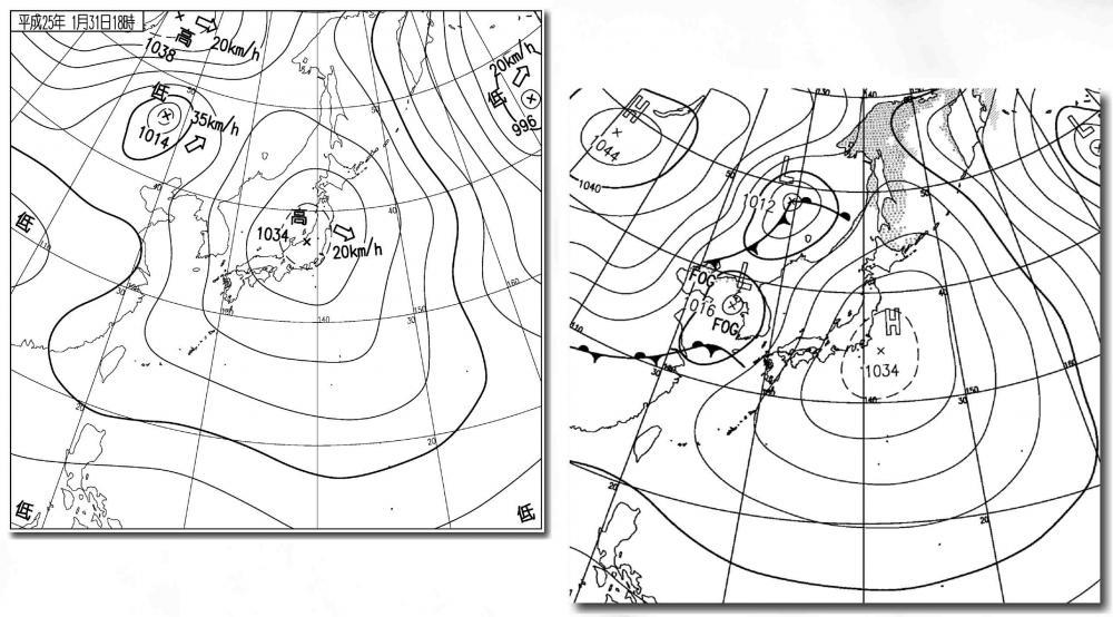 1月31日と2月1日の天気図