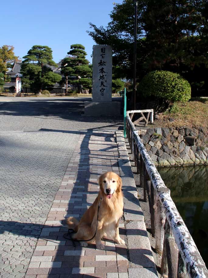 松本城前で(2)
