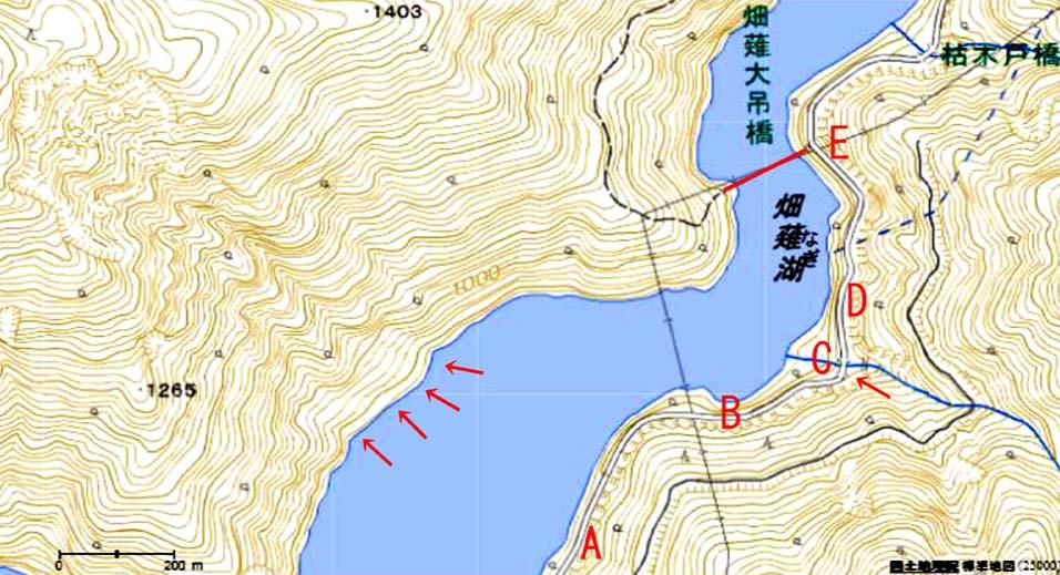 畑薙大吊橋までの近辺地図