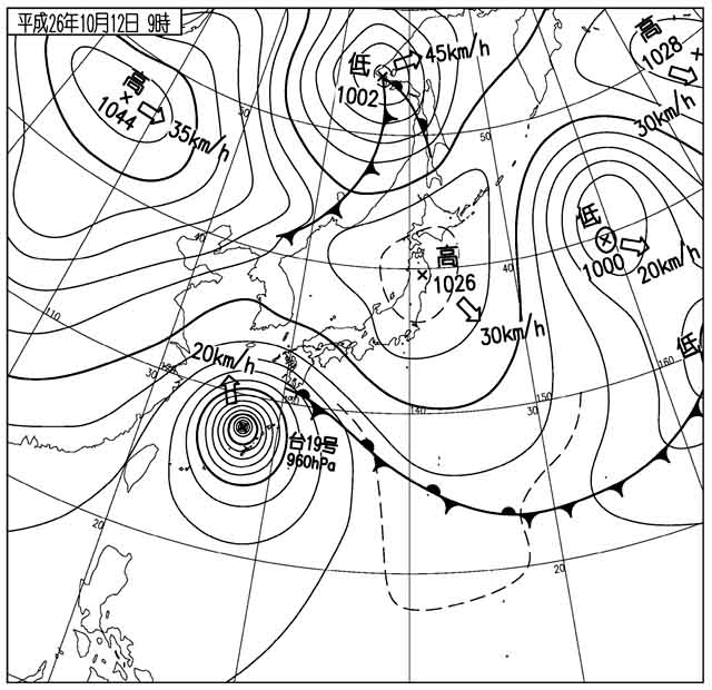 12日9時の天気図