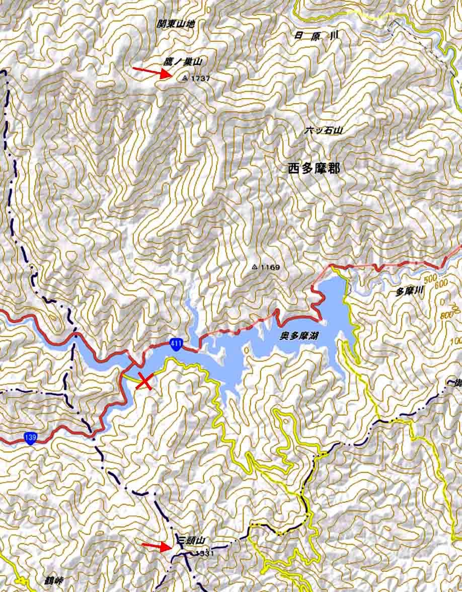 奥多摩鷹巣山と三頭山地図