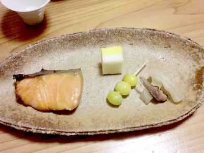 鮭の西京焼き+銀杏+かまぼこ+大根のニシンあえ