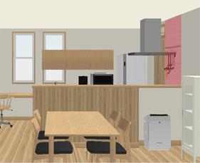 キッチンタイル位置