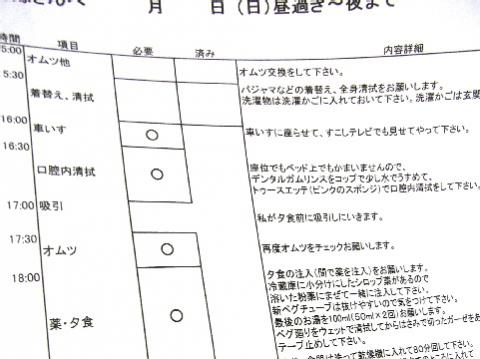 長男嫁への作業伝達書