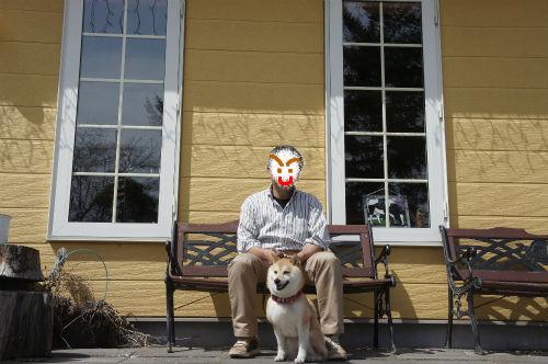 オジサンと柴犬