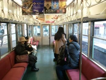 京阪大津線車内