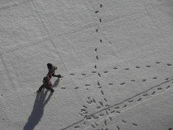 足跡つけて登校
