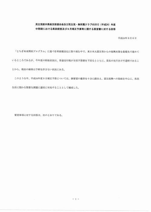 H249月補正 民主党【回答】①