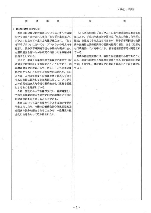 栃木県当初予算および行政推進に関する要望書に対する回答④
