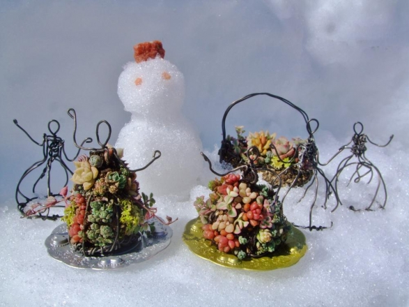 残雪の中、雪ダルマと一緒にこそり舞踏会♪2014.02.16