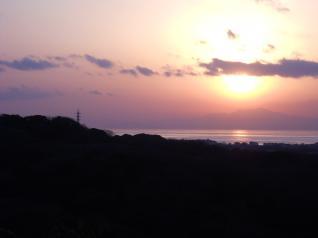 三崎線と夕日