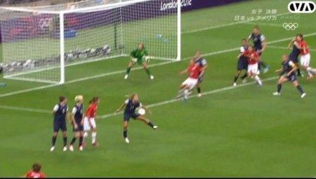 女子サッカー決勝アメリカ側反則アメリカ選手ハンド