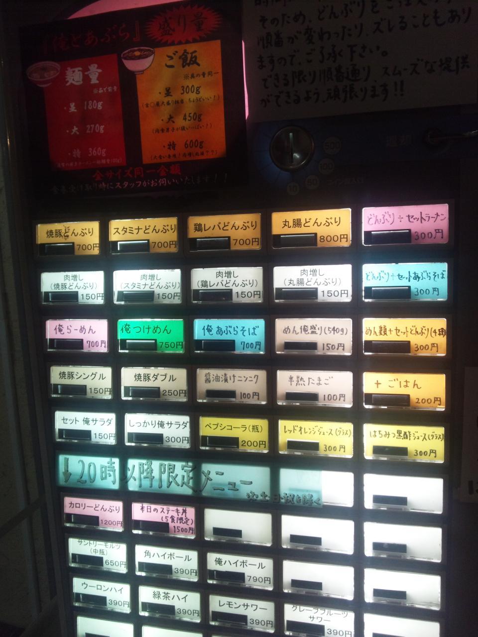 俺とあぶら水道橋本店給油所(メニュー)